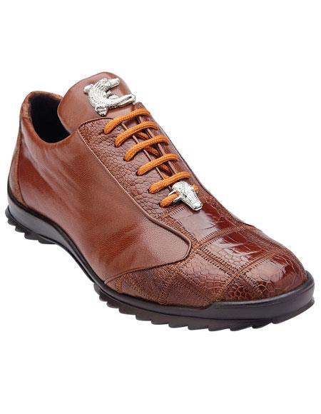 Men's Belvedere Paulo Honey Genuine Ostrich / Soft Calfskin Casual Sneakers