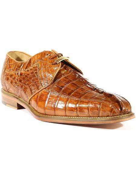 Belvedere Mens Laceup Style Leather Genuine Hornback Crocodile Shoes Camel