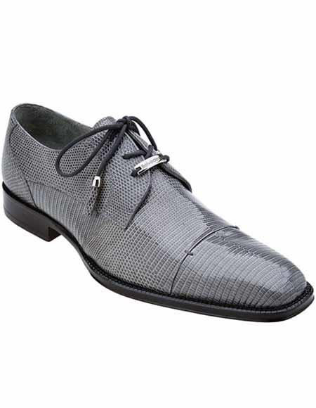 Belvedere Men's Classic Gray Teju Exotic Lizard Skin Leather Shoes