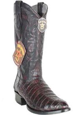 Mens Los Altos Heel Cap Genuine Caiman Belly Black Cherry Boots