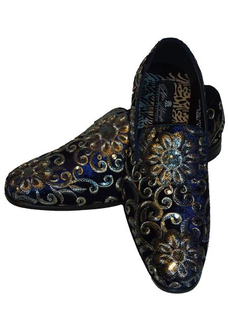 Men's Gold Silver Embroidered Slip On Style Fancy Velvet Dress Glitter ~ Sparkly Shoes Black Sequin Shiny Flashy Look