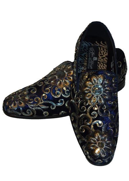 Mens Gold Silver Embroidered Slip On Style Fancy Velvet Dress Glitter ~ Sparkly Shoes