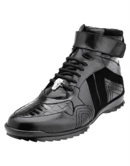 Belvedere Mens Black Ostrich Skin Casual Sneakers