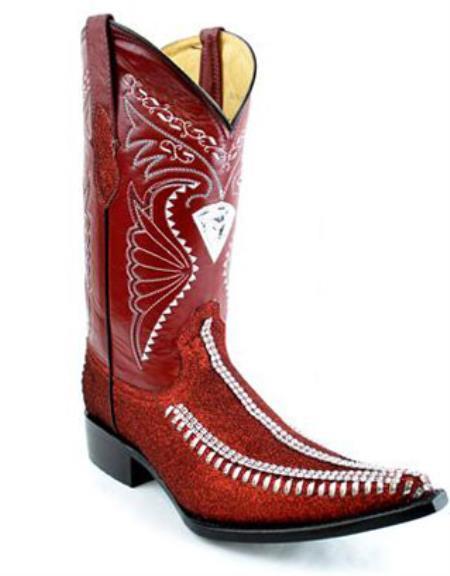 Bota Vaquera Fashion Tejida Diamantada Rojo