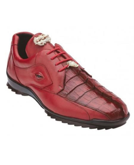 Mens Belvedere Genuine Hornback Crocodile Sneaker Red
