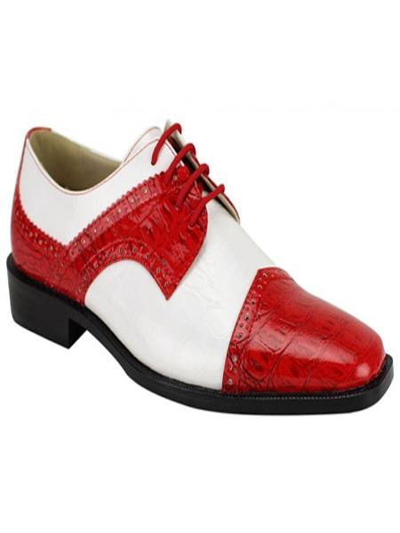 Fashion Two Toned Mens Red And White Dress Oxford Shoes Perfect For Men