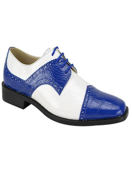 Men's Fashion Two Toned Royal/White Dress Oxford Shoes Perfect For Men