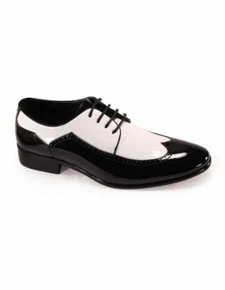 Men's Lace Up Wingtip Tuxedo Men's Tuxedo Dress Shoe For Men Perfect For Wedding Black/ White Dress Tuxedo