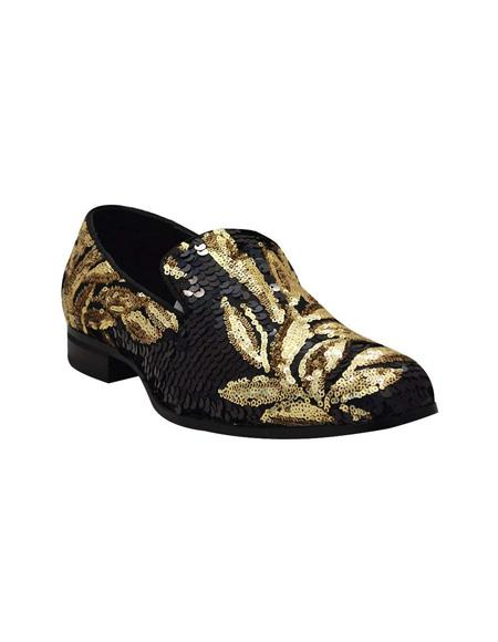 Mens Slip On Black ~ Gold Shoe