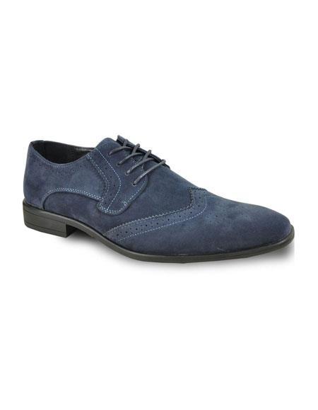 Men's Lace Up Velvet Fabric Tuxedo Blue Suede Shoes