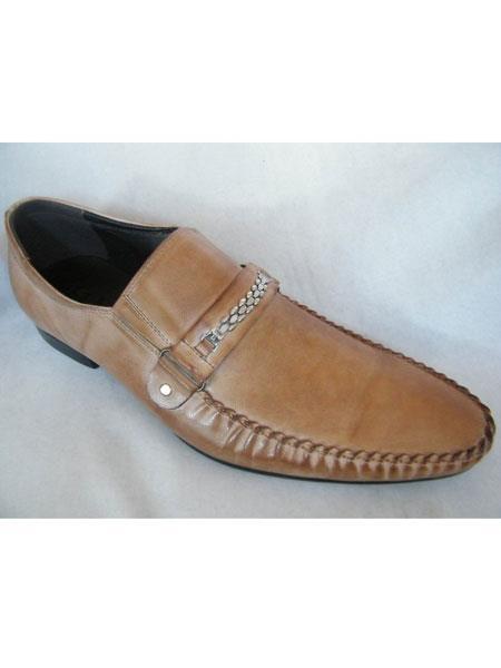 SKU#SM1670 Zota Mens Unique Dress Unique Zota Mens Dress Shoe Brand Men's Fancy Strap Taupe Leather Italian Style Loafers