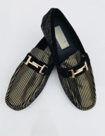 Mens European Suede Leather Metal Spikes Slip On Black Gold Zota Shoes