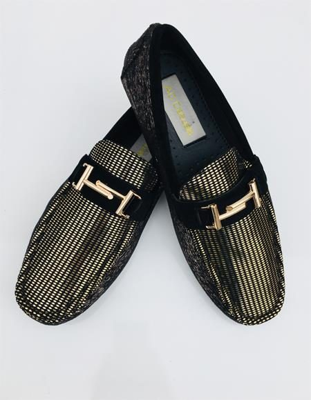 Mens Two Toned Slip On Black ~ Gold Shoe