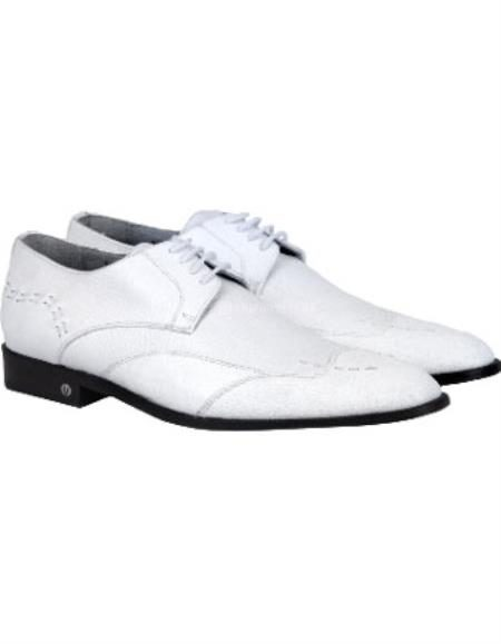Mens White Full Leather Lining Oxford Shoes