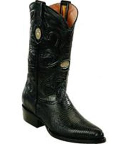 Mens White Diamonds J Toe Genuine Lizard Black Boots