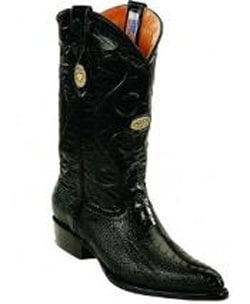 Mens White Diamonds Handcrafted Genuine Ostrich Leg Leather Insole Black Boots