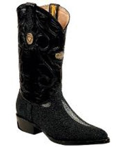Mens White Diamonds Genuine Stingray mantarraya skin J Toe Black Boots