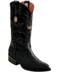 Mens White Diamonds Genuine Stingray mantarraya skin Full Leather Lining Black Boots