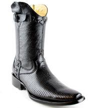 Mens White Diamonds Short Teju Lizard European Square Toe Fashion Boots Black