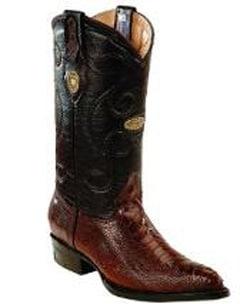 Mens White Diamonds Leather Upper Shaft Genuine Ostrich Leg Brown Boots