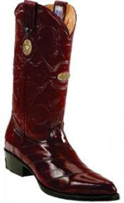 Mens Leather Insole Snip Toe Genuine Eel Skin Burgundy ~ Wine ~ Maroon Color Boots