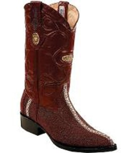 Mens Genuine Stingray mantarraya skin Single Stitched Welt Burgundy ~ Wine ~ Maroon Color Boots