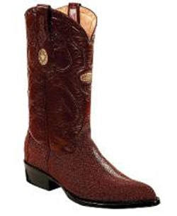 Mens Genuine Stingray mantarraya skin Hand Stitched Upper Shaft Burgundy ~ Wine ~ Maroon Color Boots