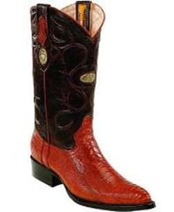 Mens White Diamonds Handcrafted J Toe Genuine Ostrich Leg Cognac Boots