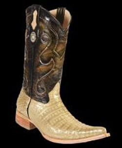 Mens White Diamonds Genuine Crocodile Belly Leather Lining 3x-Toe Cowboy Boots Gold