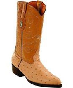 Mens White Diamonds J Toe Genuine Full Quill Ostrich Sand Boots