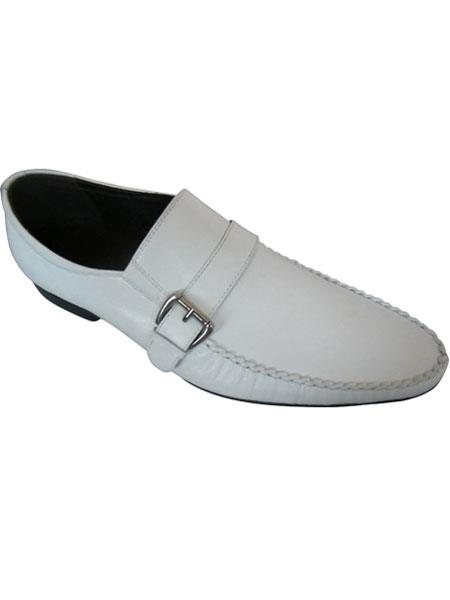 Zota Mens Unique Dress Unique Zota Mens Dress Shoe Brand Men's White Leather Side Buckle And Strap Italian Style Loafers