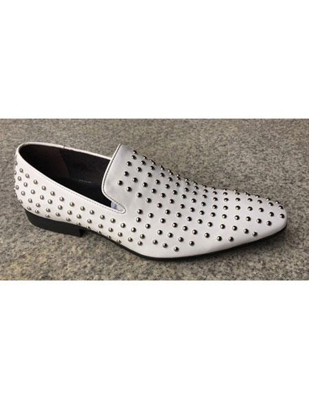 Men's White Genuine Suede Leather Studs Design Slip-On Loafer Unique Zota Mens Dress Oxford Shoes Perfect for Men