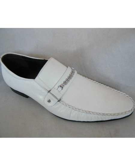 Zota Mens Unique Dress Unique Zota Mens Dress Shoe Brand Men's White Fancy Strap Italian Style Leather Loafers