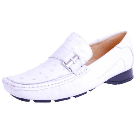 Genuine Ostrich White loafers Mens slip on Mens shoe in White Zapato Avestruz Blanco