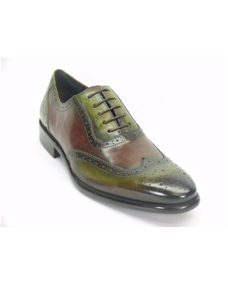 Men's Wingtip Hand Paint Medallion Oxford Olive/Brown Lace Up Shoes