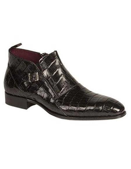 Men's Mezlan Hand Made Custom Genuine Crocodile Bene Side Buckle Boot Authentic Mezlan Brand