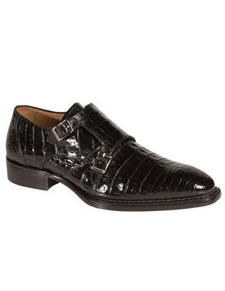 Men's Mezlan Double Strap Crocodile Black Handmade Shoes Authentic Mezlan Brand