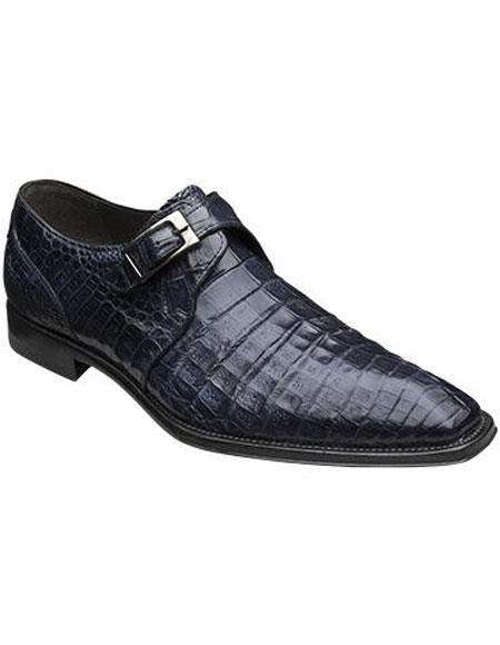 Men's Mezlan Blue Monk Inspired Style Authentic Crocodile Leather Shoes Authentic Mezlan Brand