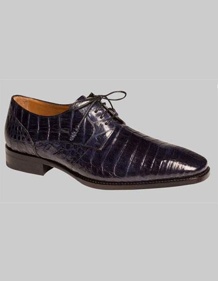 Men's Mezlan Spain Blue Color Genuine Crocodile Lace Up Oxford Shoes Authentic Mezlan Brand