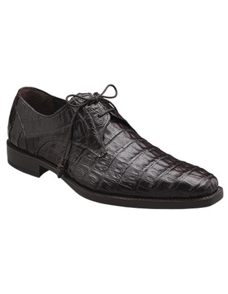 Men's Mezlan Leather Lined Brown Crocodile Lace Up Shoes Authentic Mezlan Brand