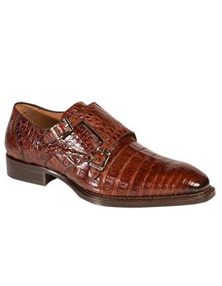 Men's Mezlan Double Buckle Crocodile Sport Brown Leather Sole Shoes Authentic Mezlan Brand