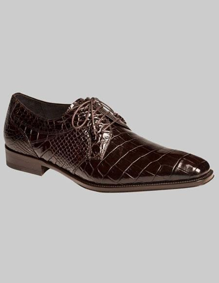 Mens Mezlan Brown World Best Alligator ~ Gator Skin Exotic Laceup Fully Leather Shoes Luciano Authentic Mezlan Brand