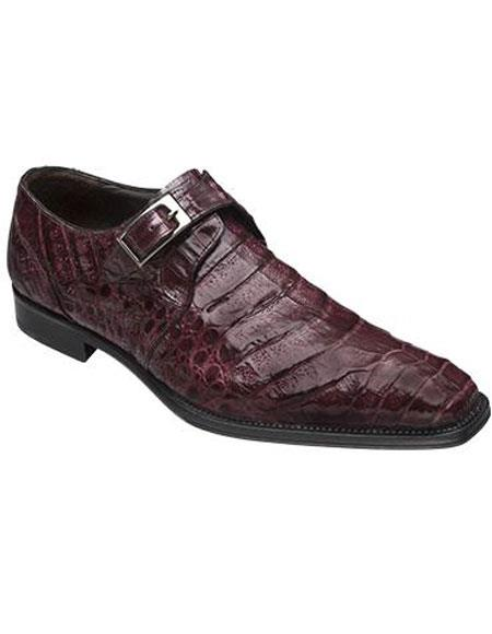 Men's Mezlan Burgundy ~ Wine ~ Maroon Color Real Deal Monk Buckle Crocodile Toe Style Shoes Authentic Mezlan Brand