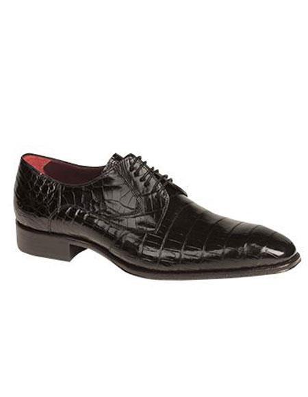 Men's Mezlan Custom Black Genuine World Best Alligator ~ Gator Skin Lace Up Leather Shoes Bernard Authentic Mezlan Brand