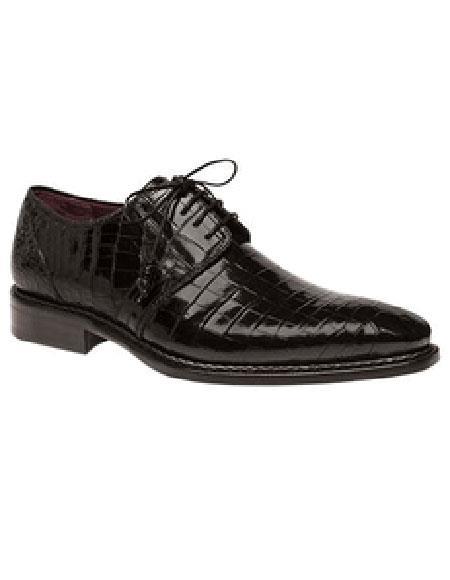 Men's Mezlan Platinum Genuine Black World Best Alligator ~ Gator Skin Lace Up Shoes Marini Authentic Mezlan Shoe Brand