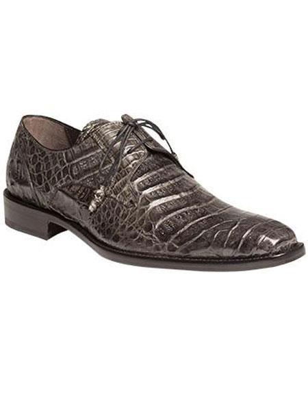 Men's Mezlan Sleek Style Gray Full Crocodile Lace Up Shoes Authentic Mezlan Brand