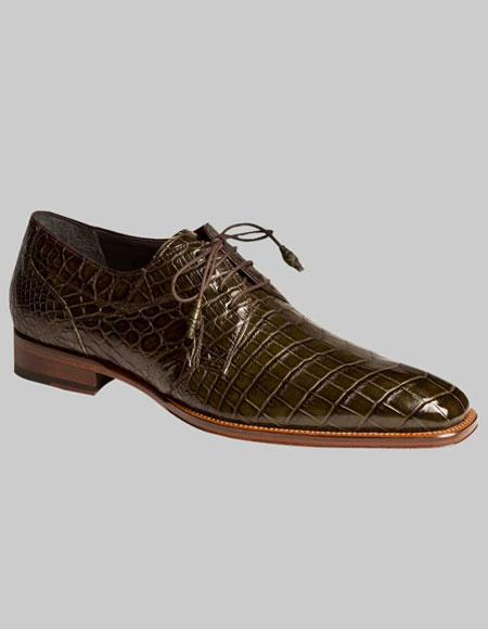 Mens Mezlan Spain World Best Alligator ~ Gator Skin Olive Green Hand Made Lace Up Shoes Luciano Authentic Mezlan Brand