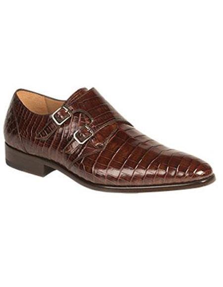 Men's Mezlan Sport Brown Real World Best Alligator ~ Gator Skin Double Buckle Leather Sole Shoe Agra Authentic Mezlan Brand