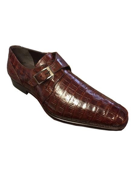 Men's Mezlan Sport Crocodile Skin Monk Strap Leather Shoes Authentic Mezlan Brand