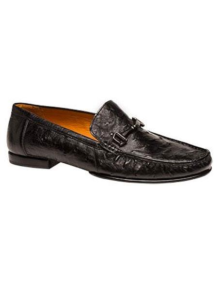 Mens Black Moc Toe Ostrich Skin Slip-On Loafers Shoes Authentic Mezlan Brand